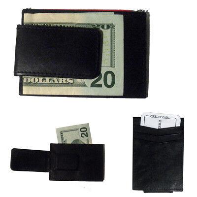 Mens Deluxe Black Leather Magnetic Money Clip Wallet Credit Card Slim ID Holder