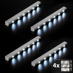 4x 6LED Lichtleiste Bewegungsmelder Schranklicht Unterbauleuchte Batterie Leiste