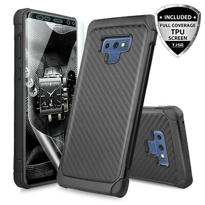 Carbon Fiber Phone Protector Case - For Samsung Galaxy Note 9 Carbon Fiber Armor Phone Case+Full Coverage TPU Screen