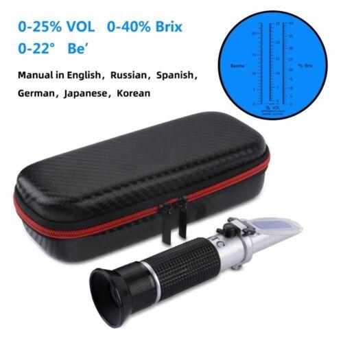 Wine Sugar Refractometer Portable 3In1 Brix Baume W25V/V Scale Alcohol Handheld