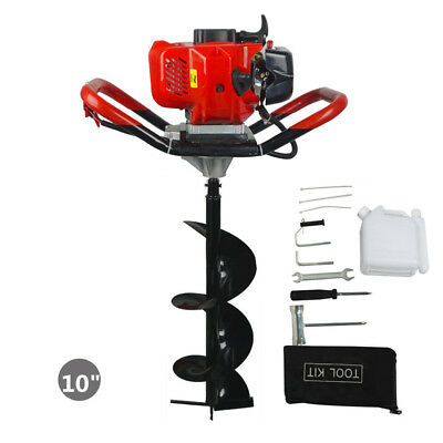 New 2.2 Hp Gas Powered Post Hole Digger W 10 Auger Drill Bit 52cc Power Engine