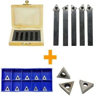 14 Indexable Carbide Insert Lathe Turning Tool Bit 10 Pc Tips Combo - 5 Pc
