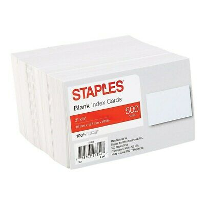 Staples 3 X 5 Blank White Index Cards 500pack 51010 233593