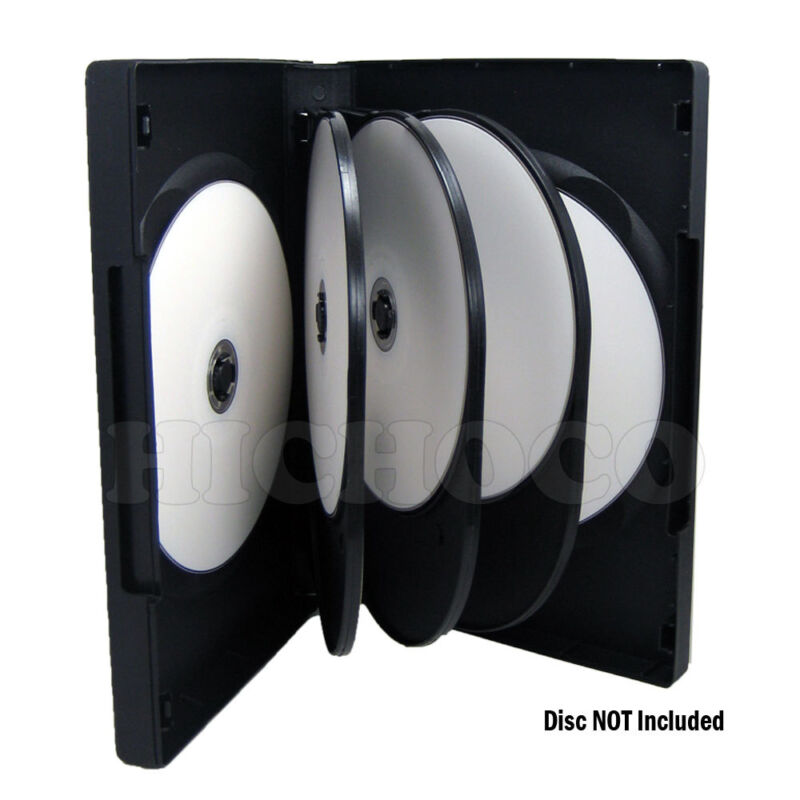 10 ct Multi 8 Disc CD DVD Black Case with Outter Sleeve Movie Game Box 27mm