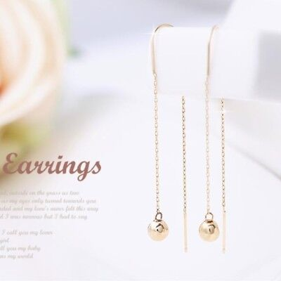 14K Solid Yellow Gold Ball Drop Long Threader Dangle a Pair of Earrings TPD