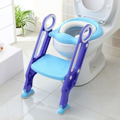 BAMNY Riduttore WC per Bambini con Scaletta Pieghevole, Kit Toilette Azzuro