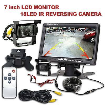 "CAR REAR VIEW KIT for Bus Truck 7"" LCD MONITOR + IR REVERSING CAMERA 18LED UK"