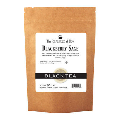 The Republic Of Tea Blackberry Sage Black Tea, 50 Tea Bags, Gourmet Black Tea, - Blackberry Sage