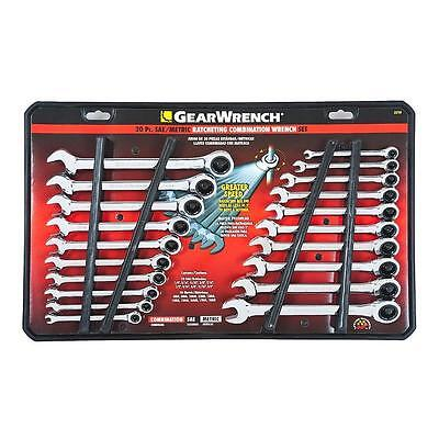GearWrench 20pc SAE METRIC Ratcheting Combination Wrenches Standard MM Set 35720