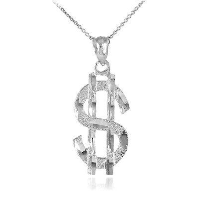 14k White Gold Dollar Sign Money Pendant Necklace Baller Pimp ()