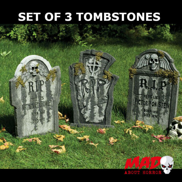 set of 3 large tombstone gravestone graveyard halloween decoration prop 55cm