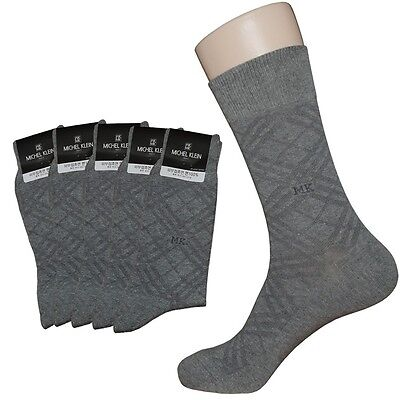 """5 Pairs Lot Mens Check Pattern Dress Socks """"Skin contact surface is 100% cotton"""""""