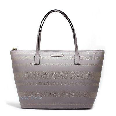 New Kate Spade Hani Haven Lane Tote Glitter Handbag Grey Neutral NWT