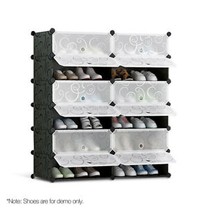 12 Cube Stackable Shoe Rack Storage Cabinet Black and White