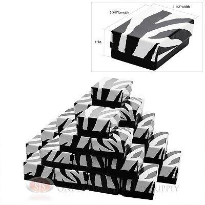 25 Zebra Print Cotton Filled Jewelry Gift Boxes Charm Pendant 2 58 X 1 12