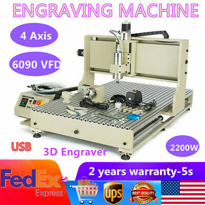 Usb 2.2kw Vfd 4 Axis 6090 Router Engraver Metal Ballscrew Wood Milling Machine