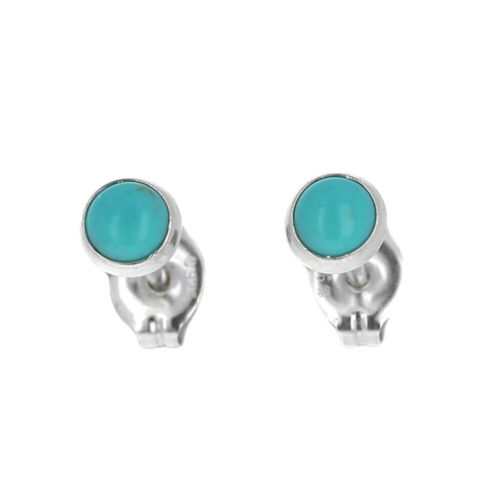 Turquoise Studs, Sterling Silver, Small Round Post Earrings, Second Hole, Mini T