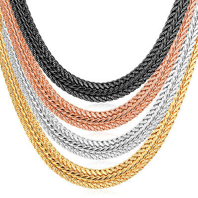 Foxtail Chain Necklace 18K Gold Plated 6mm Cool Men Women Hip Hop Jewelry 18-32