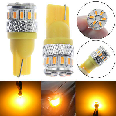2 Pack Lighting T10 Amber Yellow LED Side Marker Lights Bulbs 194 168 2825 W5W