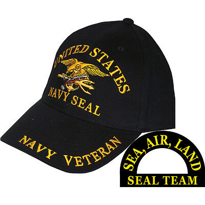 United States Navy Seal Team Hat Trident Black Cap USN