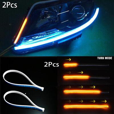 2X45cm Amber+White Flexible Universal Car LED DRL Daytime Running Light Flowing
