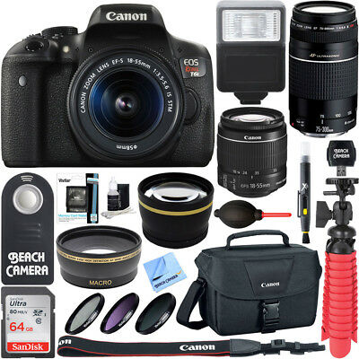 Canon Eos Rebel T6i Dslr Camera 18 55Mm   75 300Mm 4 Lens Bundle