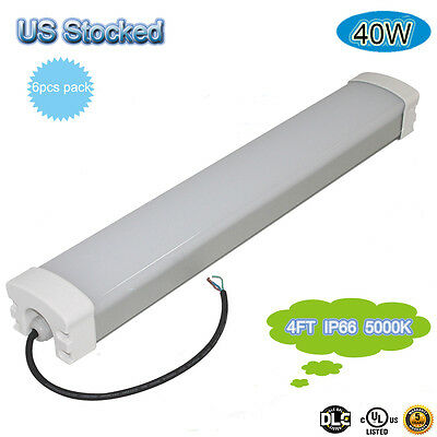 6pcs 40w 4feet Led Tri-proof Tube Light 5000k Vapor Proof Light Ip66 100-277v