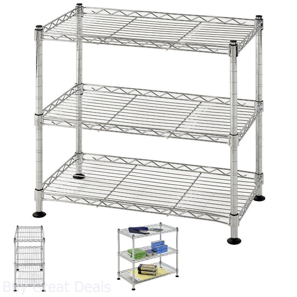 "32/"" 3 Tier Wire Shelving Rack Household Storage Adjustable Metal Shelf Organizer"