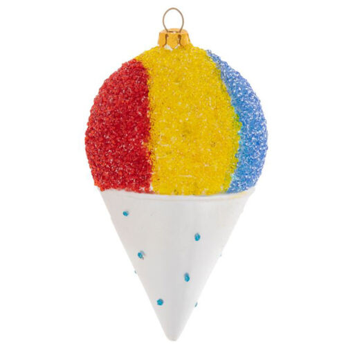Rainbow Snowcone Glass Christmas Tree Ornament Red Yellow Blue Candy Sweets