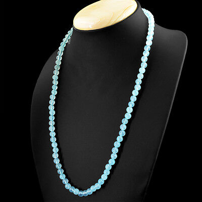 Beautiful Shapes - Beautiful 150.50 Cts Natural Blue Aquamarine Unheated Round Shape Beads Necklace