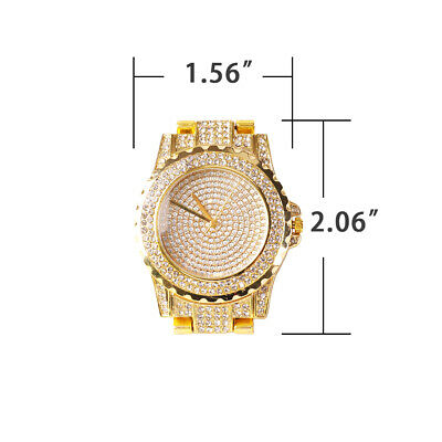 Men Hip Hop Luxury Gold Tone Simulated  Iced out Lab Diamond Rapper Wrist Watch