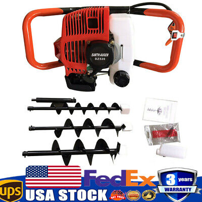 52cc Gas Powered Post Hole Digger Kit Power Engine 468auger Bits 12 Bar