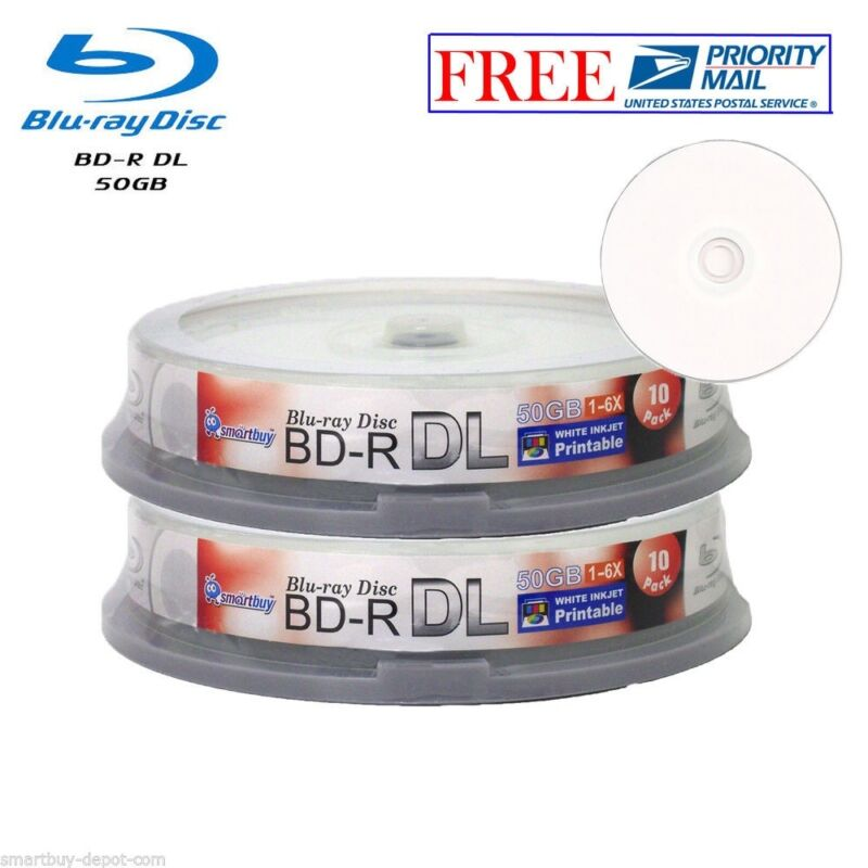 20 Pack Smartbuy White Inkjet Printable Blu-ray Bd-r Dl Dual Layer 6x 50gb Disc