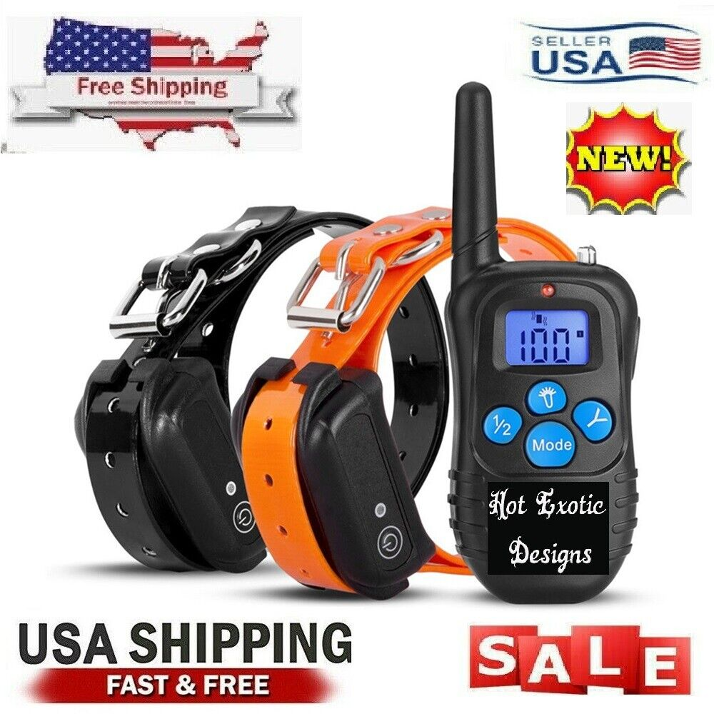 Dog Training Collar Rechargeable LCD Remote Shock ...