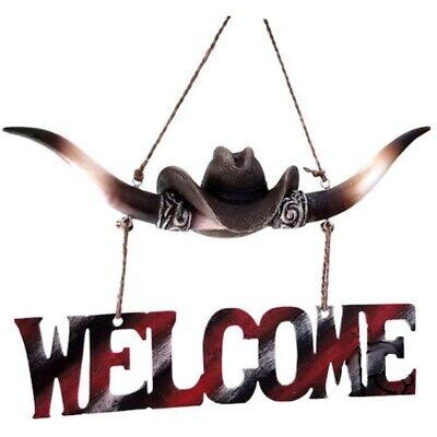 Türschild Hängeschild Welcome Dekoration Longhorn Cowboyhut 3D Saloon online kaufen