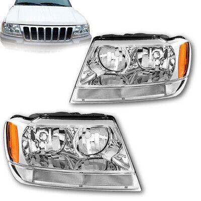 - 99-04 Jeep Grand Cherokee Chrome Headlights Headlamps+Signal Corner Lamps Pair