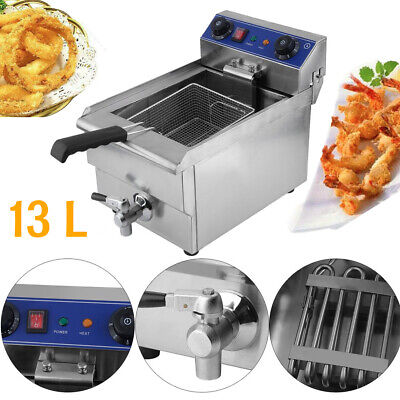 1650w 13l Commercial Electric Deep Fryer Restaurant Stainless Steel W Oil Tap