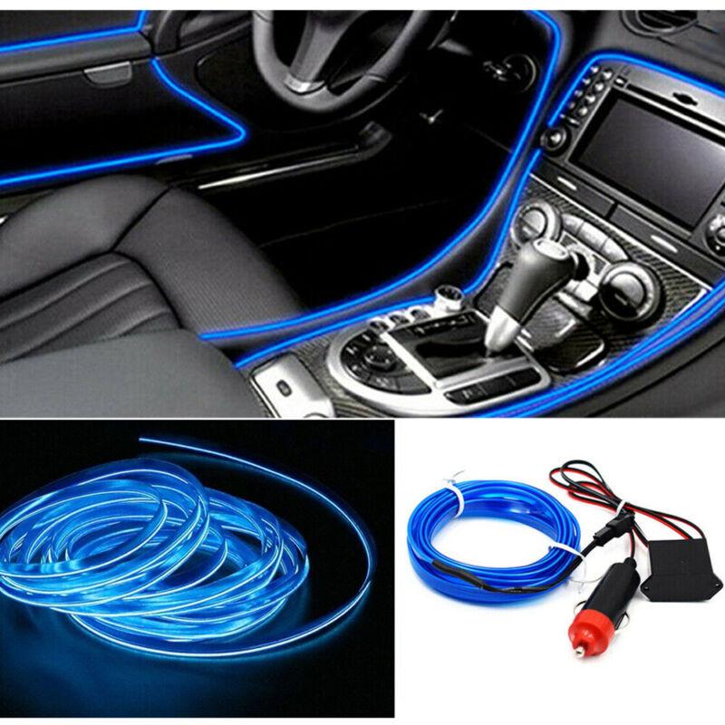 Car Parts - 2M LED Car Auto Interior Decor Atmosphere Wire Strip Light Lamp Blue Auto Parts