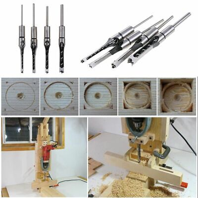 Hollow Square Hss Saw Mortiser Chisel Auger Drill Bit Wood Hole Cutter 4pcs