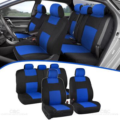 Car Seat Covers for Auto Blue Black 5 Head Rest Split Bench Air Bag Safe