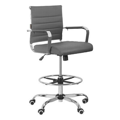 Office Chair Gaming Drafting Ergonomic Computer Pu Leather Executive Seat Gray