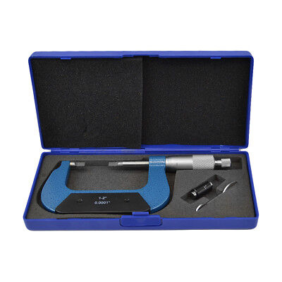 1-2 Outside Blade Micrometer Solid Metal Frame 0.0001 Blade Thickness .030