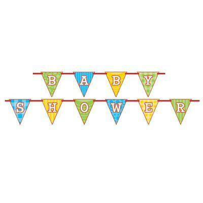 New Noah's Ark Baby Shower Flag Ribbon Banner 9Ft Zebra Lion Pennant - Noah's Ark Baby Shower Decorations