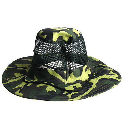 Mens Womens Unisex Outdoor Mesh Sunshade Fishing Bucket Hat Camouflage Caps Gift