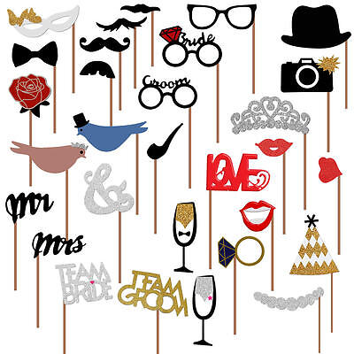 Wedding Photo Booth Props, Wedding Party Decorations, NO DIY REQUIRED, USA - Photobooth Wedding Props