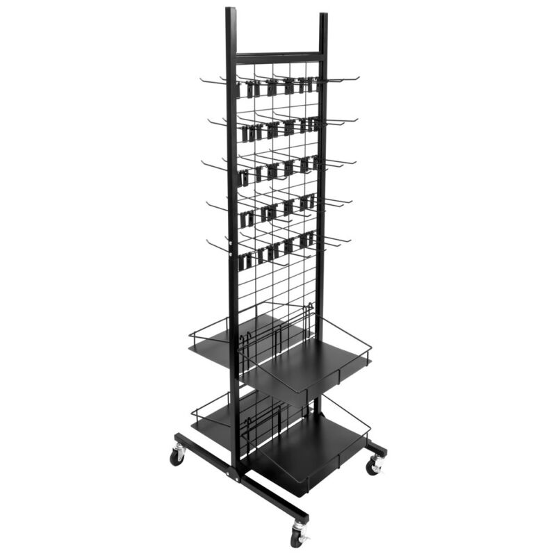 Brybelly RFIX-001 50 Hooks Rolling Display Rack & 4 Shelves