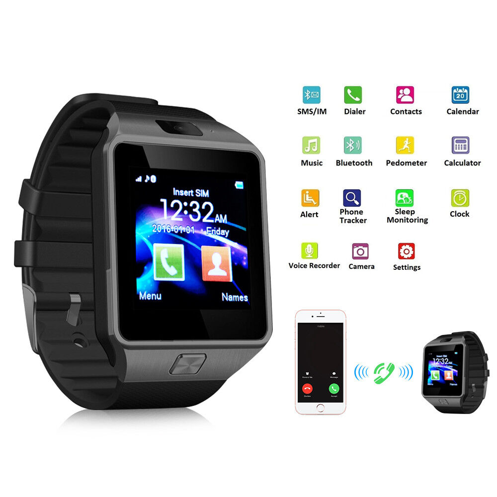 New Bluetooth Smart Watch DZ09 Sweatproof SIM Card Camera for Android IOS Iphone