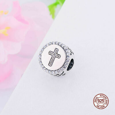 PANDORA FAITH CROSS Charm 100% Sterling Silver S925 with Pandora Pouch