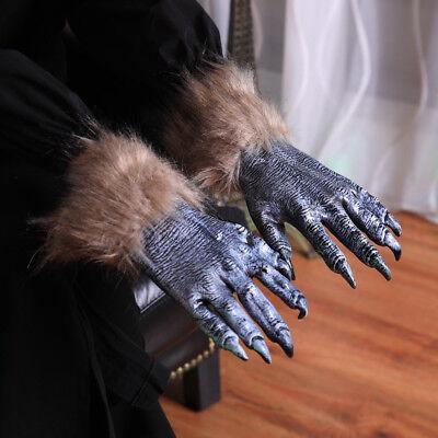 NEW Halloween Werewolf Ghost Festival Hairy Gloves Simulation Wolf Claw - Halloween Claws