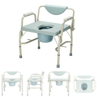 Heavy Duty Bariatric Commode Chair Drop Arm Steel Padded Bac